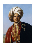 Portrait of an Ottoman Prince, Half Length, in Red and Gold Giclee Print by Lafond Francois Henri Alexandre