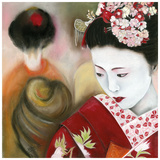 Geisha Rouge a Droite Poster by Béatrice Hallier
