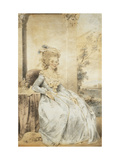 Portrait of Queen Charlotte, Seated by a Table with a Landscape Beyond Giclee Print by John		 Downman