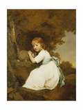 Portrait of Miss Bentley, Wearing a White Dress, Holding a Rabbit in a Landscape Giclee Print by Joseph		 Wright of Derby