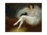Ballerina with a Black Cat Giclee Print by Pierre		 Carrier-Belleuse