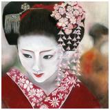 Geisha Rouge a Gauche Print by Béatrice Hallier