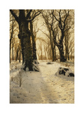 A Wooded Winter Landscape with Deer Prints by Peder Mork Monsted