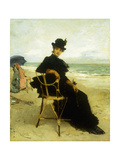 A Lady Seated on a Veranda Giclee Print by Miralles y Galup Francisco