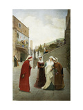 The Meeting of Dante and Beatrice Giclee Print by Lorenzo		 Valles