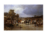The Horse Market at Honnebont Giclee Print by Jules Achille		 Noel