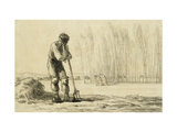 Peasant Leaning on a Pitchfork Prints by Jean-François Millet