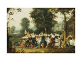 Elegant Figures Seated at a Banquet Table in a Wooded Clearing Prints by Christoffel Jacobsz Lamen