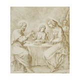 The Infant Christ, the Virgin and Saint Joseph Seated at a Table Attended by an Angel Giclee Print by Carracci Lodovico