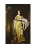 Portrait of Mrs. Ellen Morewood, in a Yellow Dress, Blue Sash and Mauve Wrap Giclee Print by George		 Romney