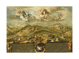 A View of Bethlehem with the Journey of the Magi, the Trinity Above and the Nativity Posters by Stephan Joseph
