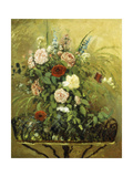 Bouquet of Flowers with a Rustic Wooden Jardiniere Prints by Camille Pissarro