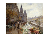 A Flower Market Along the Seine Giclee Print by Georges		 Stein