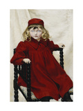 Portrait of Harriet Fischer, wearing a Red Dress Giclee Print by Paul		 Fischer