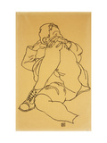 Young Man Reclining with his Head Resting on His Crossed Leg Giclee Print by Egon Schiele