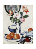 Pink and Tangerine Roses in a Blue and White Beaker Vase with Oranges in a Bowl and a Black Fan Giclee Print by Samuel John Peploe