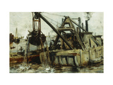 Dredging in the East River Giclee Print by John Henry		 Twachtman