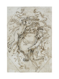 Two Putti Supporting a Cardinal's Hat and an Escutcheon: Design for a Stucco Decoration Giclee Print by Alessandro Algardi