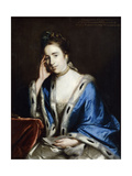 Portrait of Charlotte Walsingham, in a White Dress and Blue Cape Trimmed with Ermine Posters by Sir Joshua Reynolds