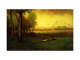 Cows Grazing at Sunset Giclee Print by Inness, Sr. George