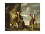 Group Portrait of George Fitzgerald with his Sons George, seen flying a Kite, and Charles Prints by Johann		 Zoffany