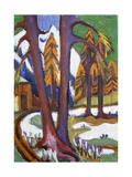 Mountain-Early Spring with Larchen Prints by Ernst Ludwig		 Kirchner