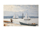 Pulling the Dory Stampe di Winslow Homer