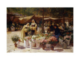 The Flower Market Giclee Print by Victor Gabriel		 Gilbert