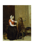 Woman and Spinning Wheel Giclee Print by Antoine		 Vollon