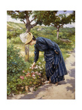 Lady in a Garden Print by Victor Gabriel		 Gilbert