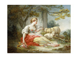 A Shepherdess Seated with Sheep and a Basket of Flowers Near a Ruin in a Wooded Landscape Giclée-Premiumdruck von Jean-Honoré Fragonard