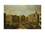 The Largo San Ferdinando, Naples, at Carnival Time Prints by Antonio		 Joli