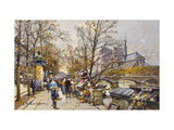 The Rive Gauche, Paris with Notre Dame beyond Prints by Eugene Galien-Laloue