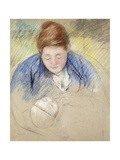 Woman Leaning over Baby Premium Giclee Print by Mary Cassatt