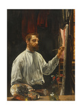 Portrait de Leon Frederic, Standing Half Length at His Easel Art by Leon Henri Marie		 Frederic