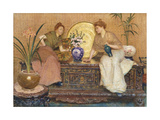 Two Ladies Sitting on a Chest by a Cairo Ware Tray and a Vase of Flowers Giclee Print by Hector		 Caffieri