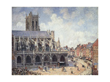 The Church of Saint Jacques in Dieppe in the Morning Sun Giclee Print by Camille Pissarro