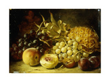 A Still Life with Grapes, Peaches, Plums and a Pineapple Giclee Print by William		 Duffield