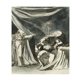 An Old Woman Wearing a Rosary Cursing a Seated Man Giclee Print by Henry Fuseli