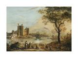 Caernarvon Castle, with a Harper in the Foreground Impression giclée par Paul Sandby