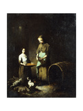 Young Peasant Girls Feeding Barnyard Animals Giclee Print by Theodule		 Ribot