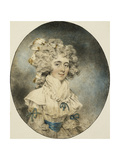 Portrait of Mrs. Fisher, Half Length, in a White Dress Adorned with Blue Ribbons Giclee Print by John		 Downman