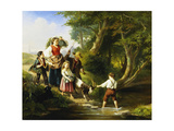 Crossing the Ford Giclee Print by Jan		 Walraven