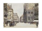 Stefansplatz, Vienna Giclee Print by Rudolf Bernt