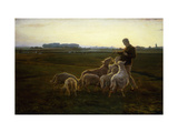 A Shepherd and his Sheep with Geese Beyond Giclee Print by Carl Christian Wentorf