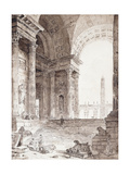 A Classical Roman Arcade, with Figures in the Foreground Giclee Print by Hubert		 Robert