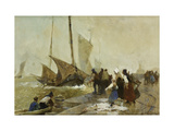 A Busy Quayside in Brittany with Fishing Boats Returning Prints by Caffieri Hector