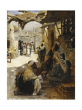 Arabs Conversing in a Village Street Giclee Print by Rudolf Swoboda