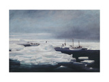 The James Caird, Dudley Docker and Stancomb Wills Moored to the Ice-floe in the Weddell Sea Giclee Print by George		 Marston