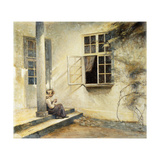 A Girl Sitting on a Porch, Liselund Art by Peter		 Ilsted